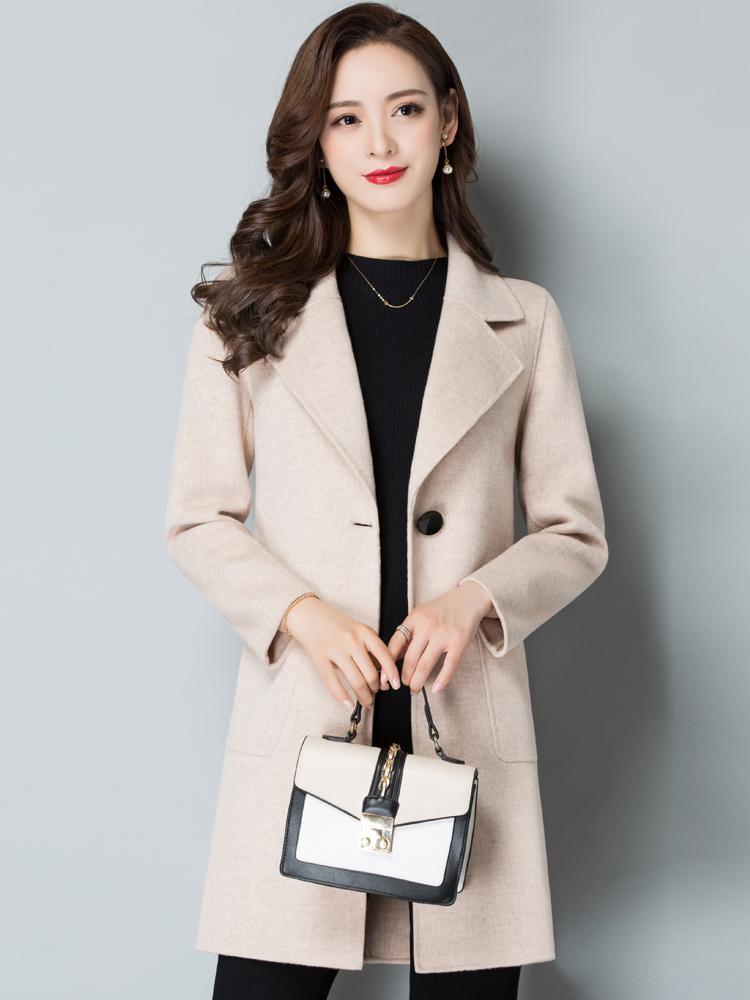 2018新品秋冬时尚双面呢羊毛大衣小个子韩版修身零羊绒呢子外套女