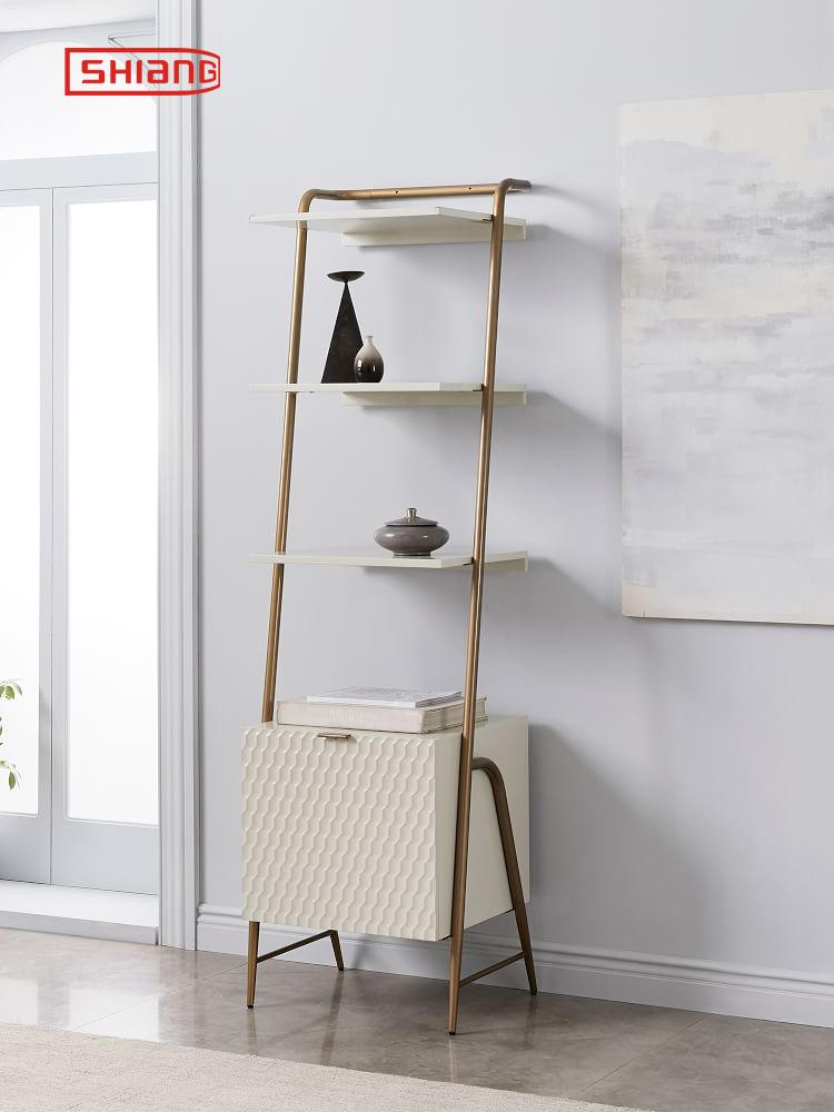 室尚简约金色不锈钢书架白色烤漆展示架摆设装饰架陈列架储物架