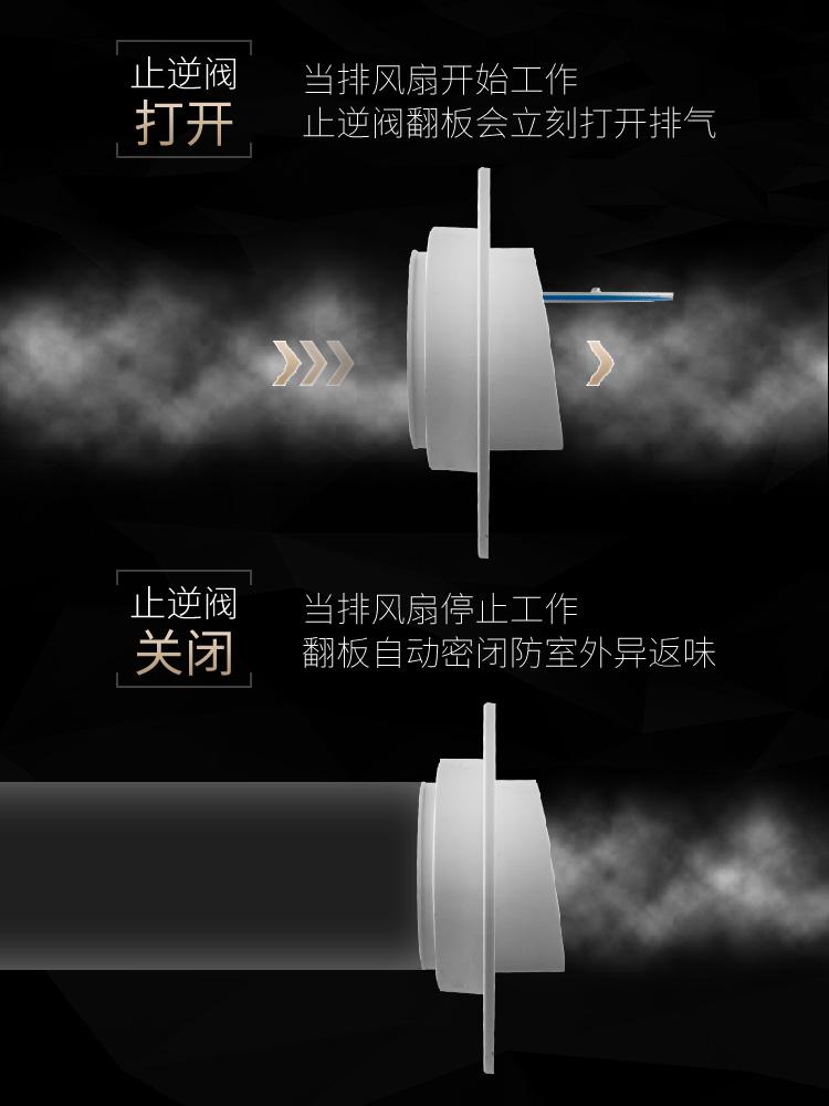 潜水艇厨房卫生间浴霸排气扇排风管烟道油烟机逆止阀止逆阀止回阀