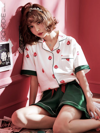 Women's Pajamas short-sleeved cotton two-piece suit loose wear strawberry pattern