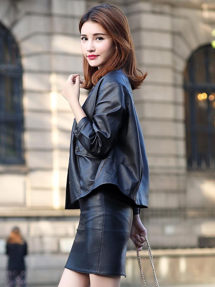 卡若维娅2018秋装新款皮衣女短款宽松九分袖海宁真皮外套韩版反季