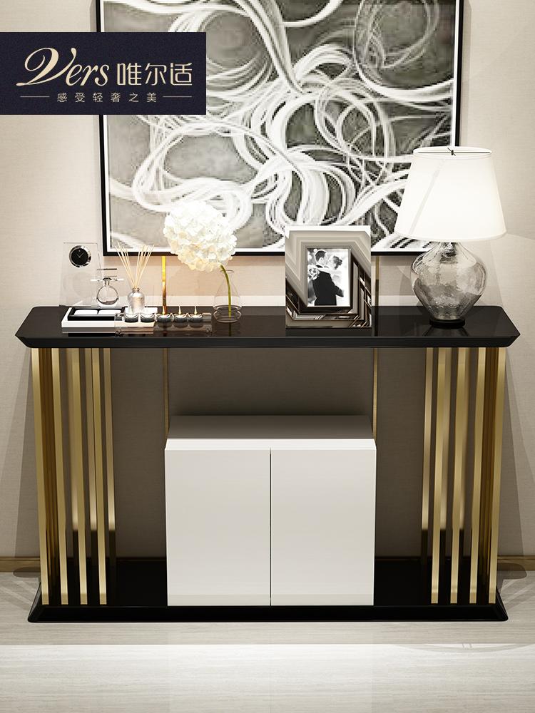 唯尔适 现代简约装饰摆台 不锈钢黑白烤漆储物条案桌门厅玄关柜台