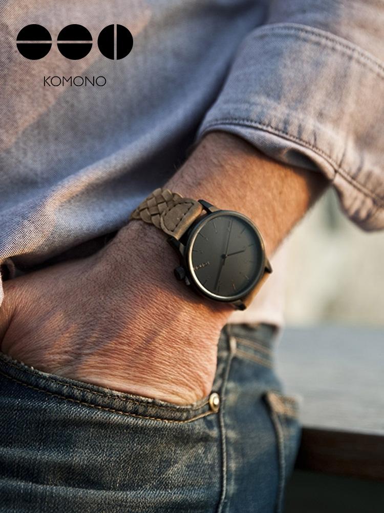 KOMONO手表男学生潮流复古编织带腕表小众男士手表防水石英表dw表