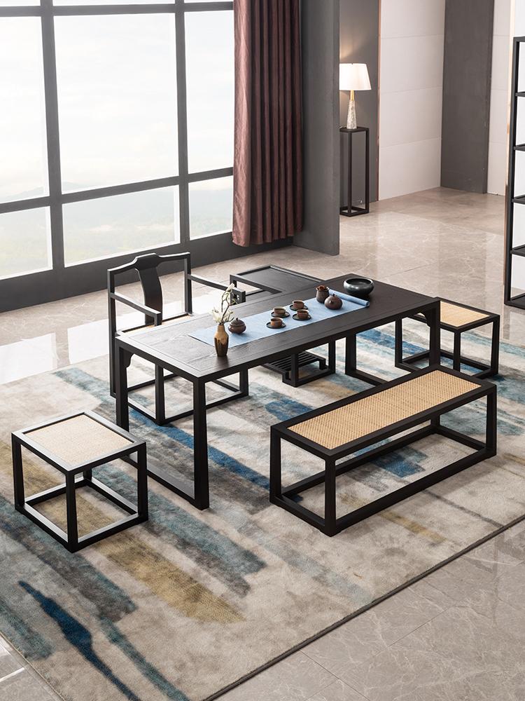 木屋子新中式茶桌椅组合禅意实木功夫茶台泡茶几民宿酒店家具定制