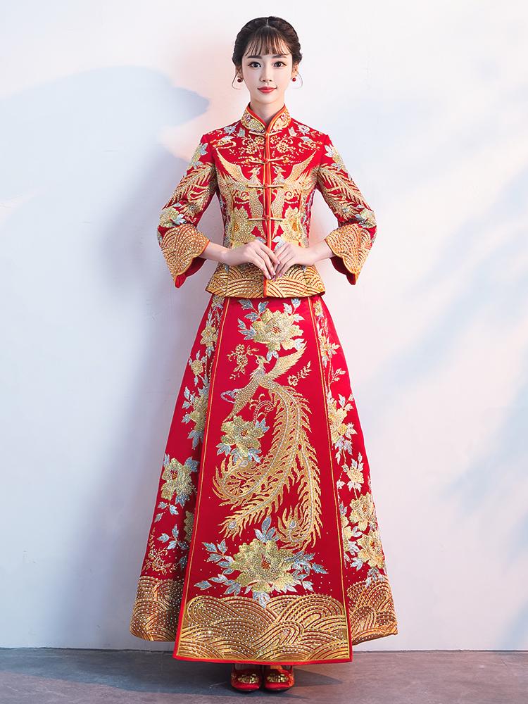 秀禾服新娘2018新款结婚龙凤褂中式婚纱礼服出阁服古代嫁衣秀和秋