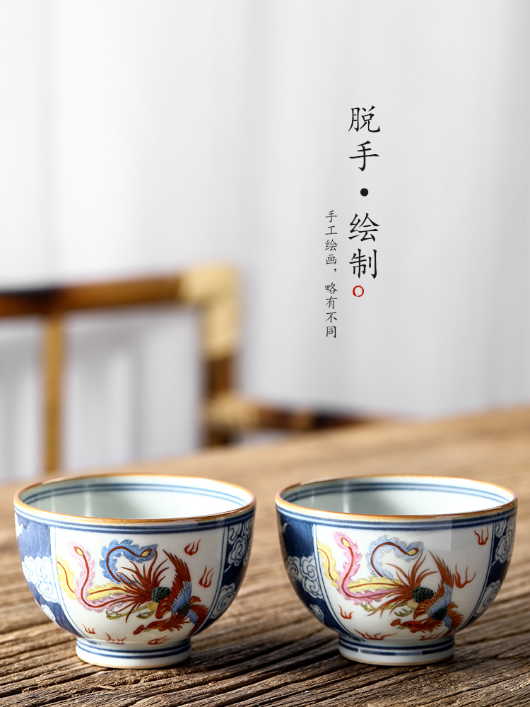 Blue and white master cup single cup pure manual jingdezhen ceramic cups sample tea cup hand - made longfeng kung fu tea set. A single