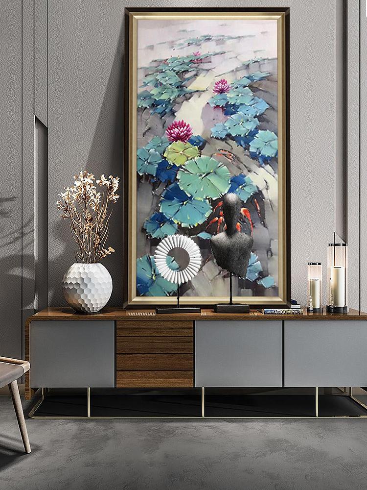 画意名画新中式走廊玄关装饰画手绘油画客厅酒店荷花挂画荷塘锦鲤