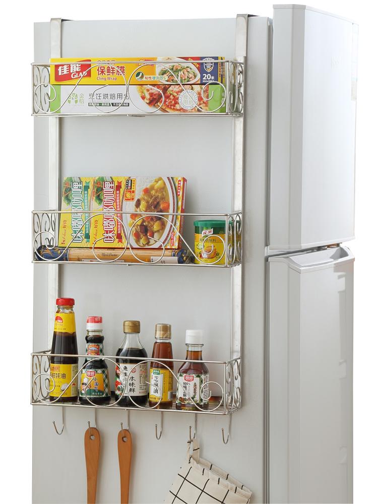 冰箱挂架侧壁挂冰箱架厨房置物架收纳架冰箱侧边不锈钢调味架子