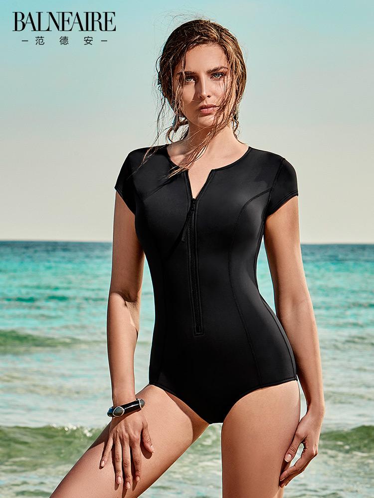 范德安泳衣女连体 性感保守小胸聚拢泳装 专业遮肚显瘦温泉游泳衣