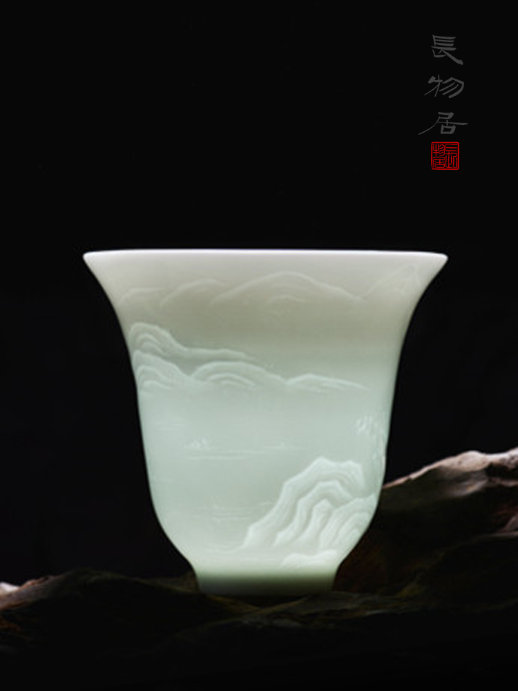 Offered home - cooked manual shadow blue glaze in kung fu tea master of jingdezhen ceramic cup cup sample tea cup single small tea cup