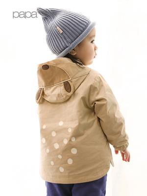 papa爬爬秋冬宝宝婴儿带帽夹克儿童外套内胆两件套风衣0-5岁