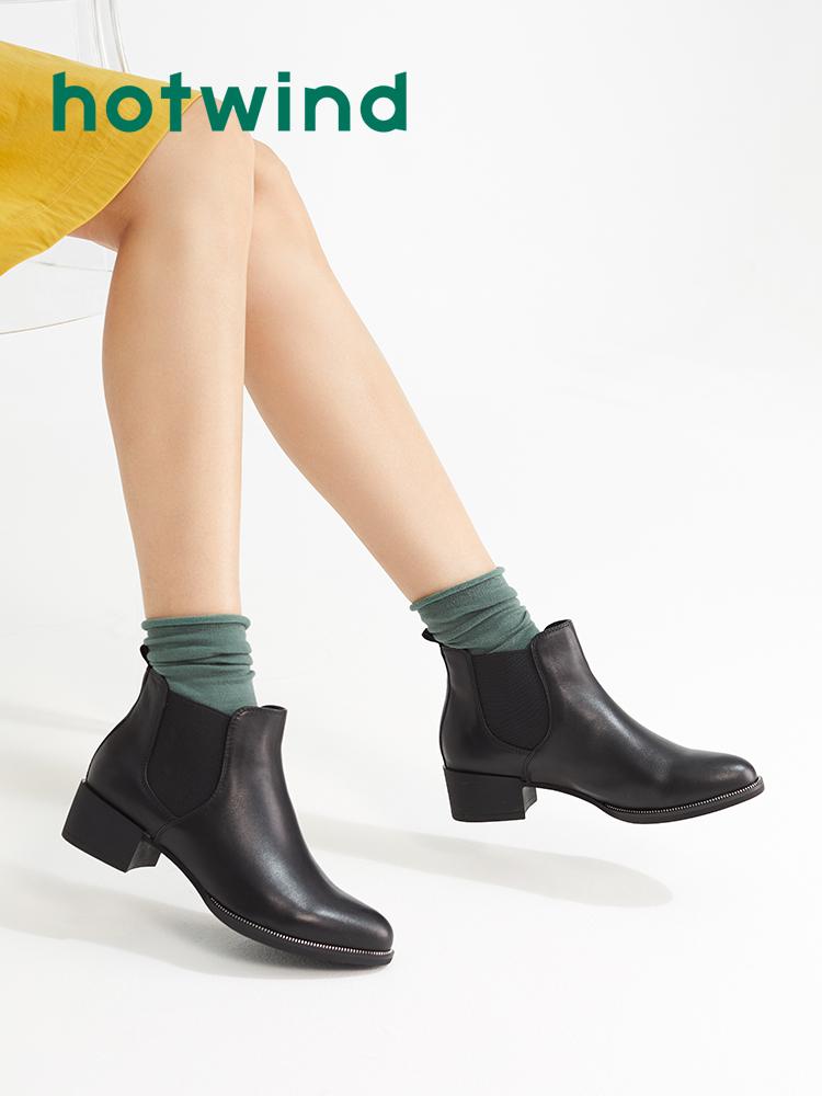 热风2018年冬季新款潮流时尚女士橡筋休闲靴粗跟尖头短靴H82W8421