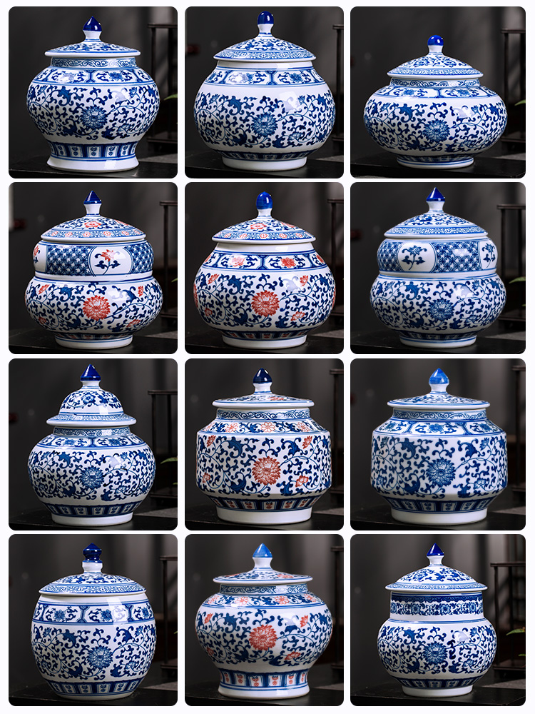 Son of jingdezhen ceramics POTS sealed storage tank with cover of blue and white porcelain tea pot of Chinese traditional medicine can household decorations
