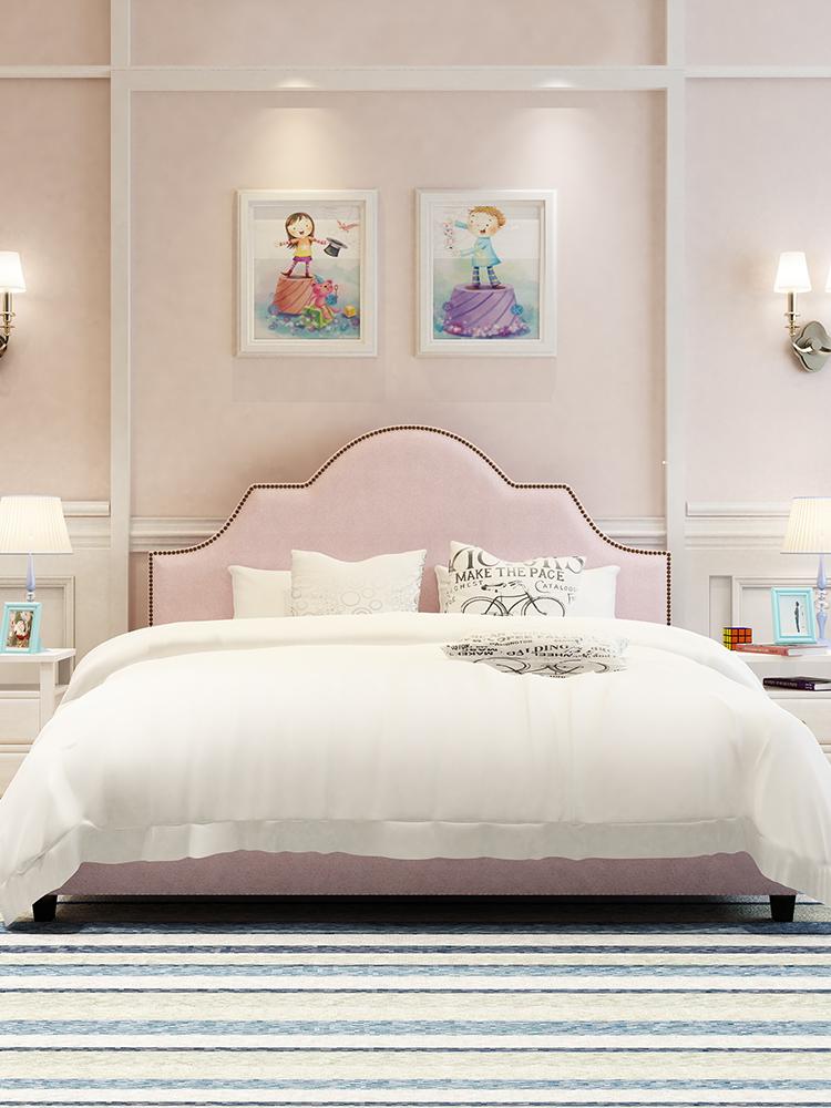 粉色布艺床主卧双人床 北欧简约小户型女孩床1.8米现代美式公主床