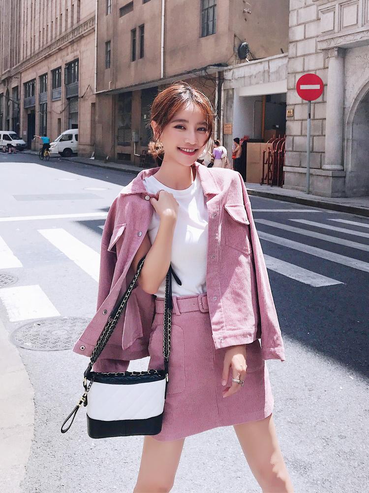 秋装女2018新款上衣配短裙两件套港味粉色减龄小香风套装女时尚潮