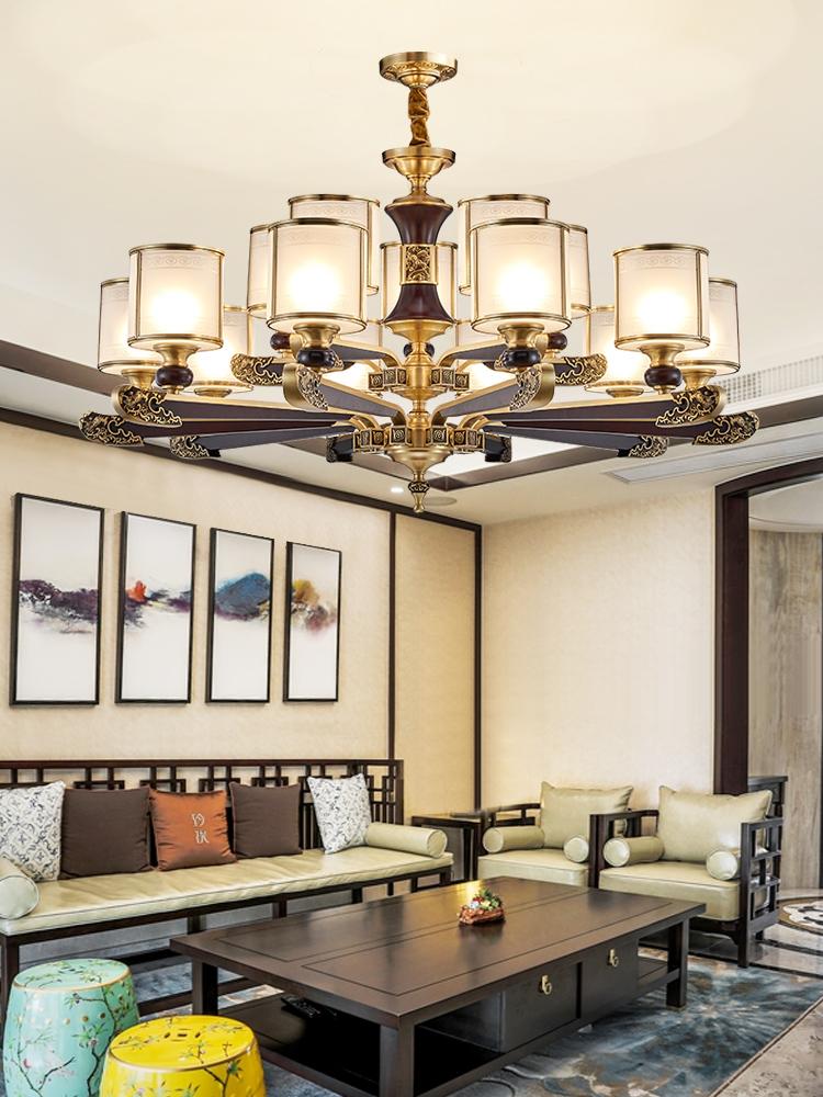 麦朵 新中式吊灯全铜客厅餐厅灯古典红木灯具别墅大气复古铜灯饰