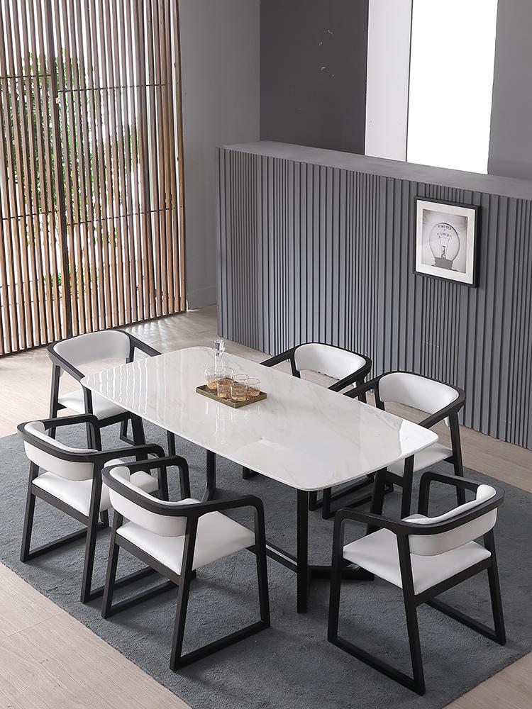 北欧小户型实木餐桌椅组合长方形大理石饭桌简约现代餐桌组合家具