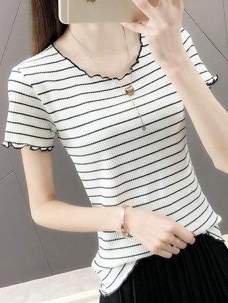 [品绣玫瑰旗舰店T恤]冰丝针织短袖T恤女条纹薄款2019新月销量1563件仅售38元