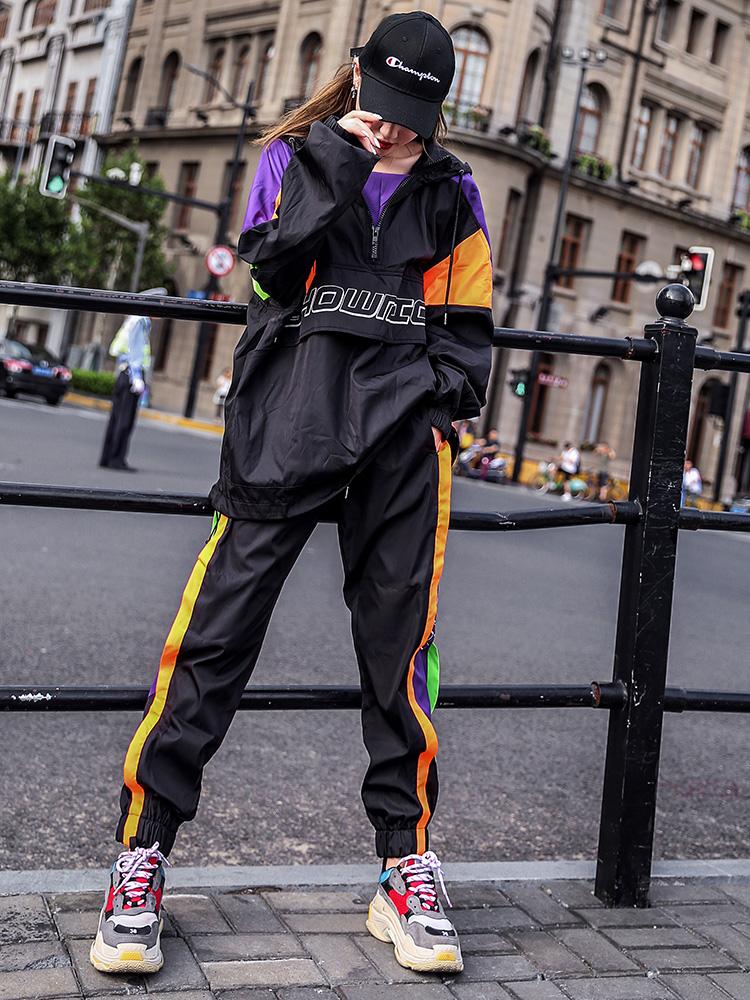 2018秋季新款韩版外套长裤网红两件套装帅气女生嘻哈初秋女bf套装