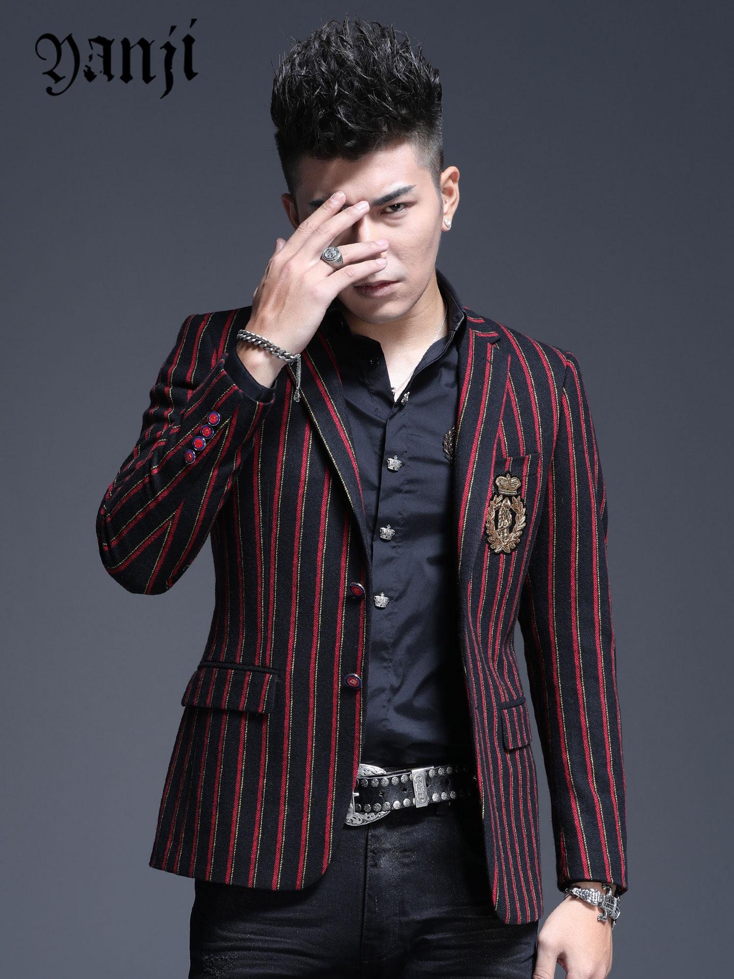 羊毛西服男士韩版潮流修身条纹休闲单西外套秋季新款小西装男帅气