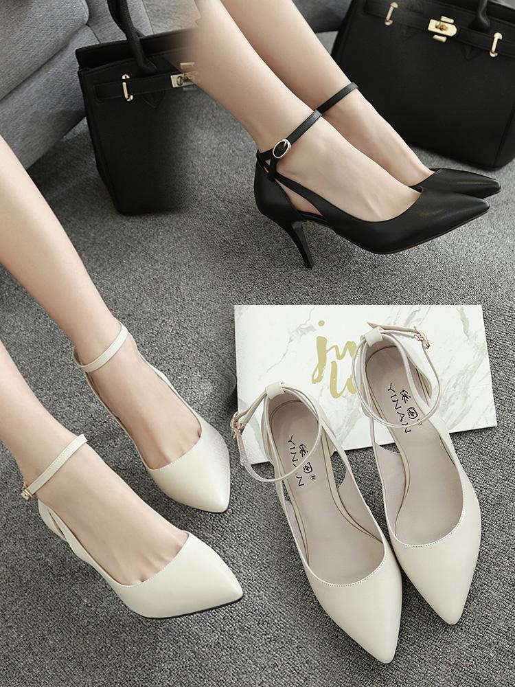 小码夏季米白色韩版尖头高跟鞋细跟单鞋中跟女鞋33码百搭绑带婚鞋