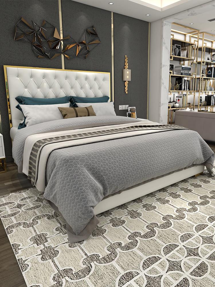 后现代港式轻奢床钛金家具现代简约网红小户型样板房主卧真皮床