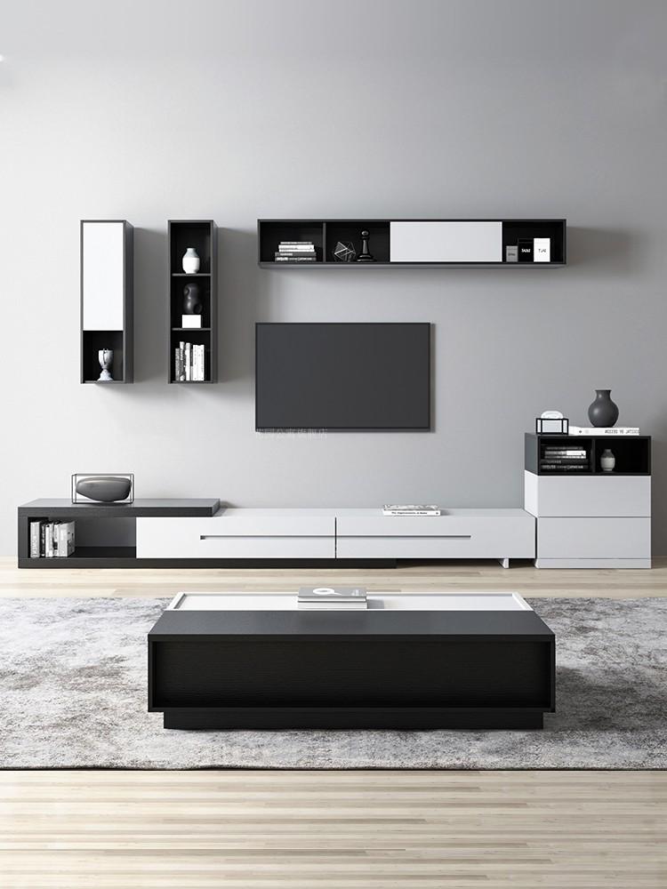 花园公寓 北欧伸缩茶几电视柜组合 现代简约客厅家具电视背景墙