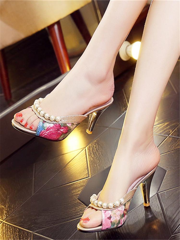新款外出夏季时尚外穿凉托细跟高跟室外韩版一字潮女凉拖鞋40-43