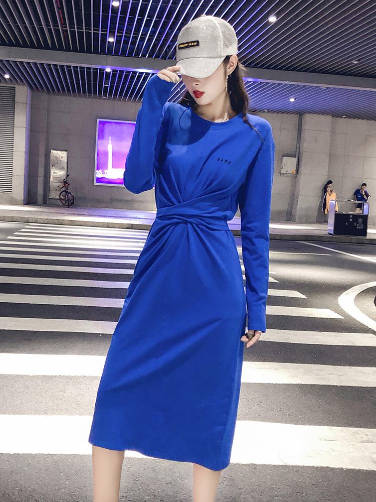 长款过膝慵懒风秋装女2018新款长袖开叉一步裙收腰显瘦蓝色连衣裙