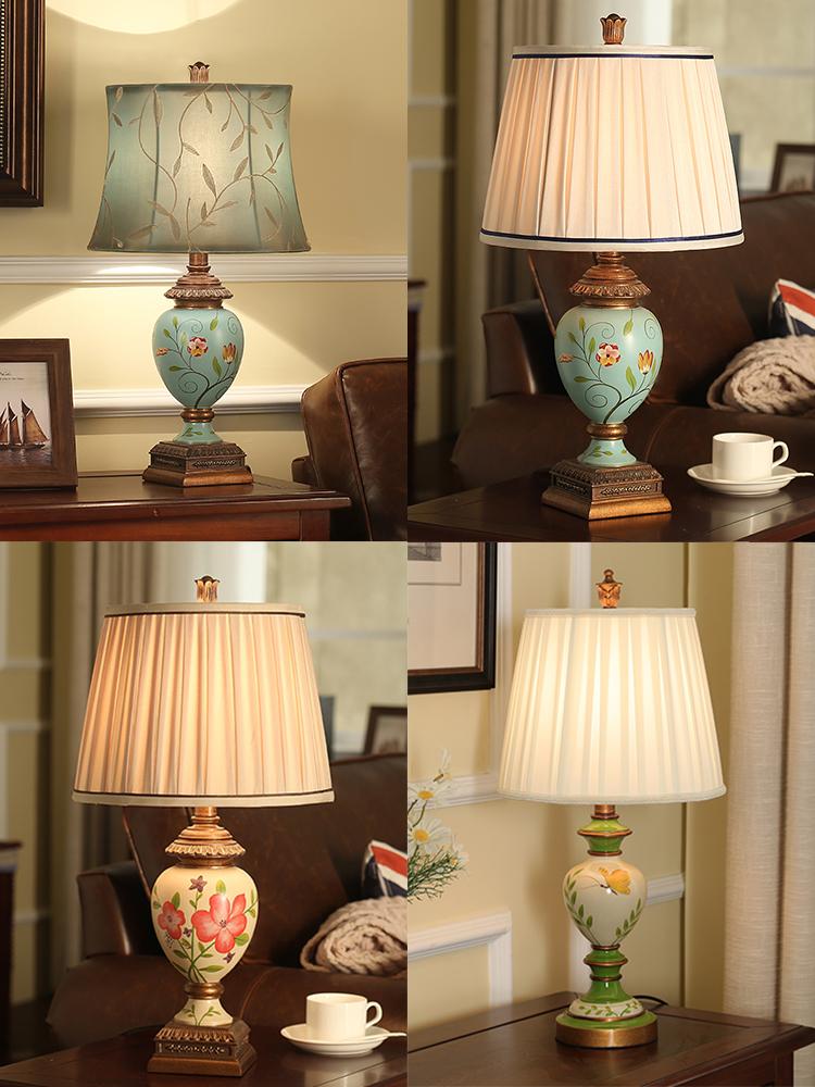 登对 美式台灯卧室床头灯创意复古欧式结婚庆地中海田园客厅台灯