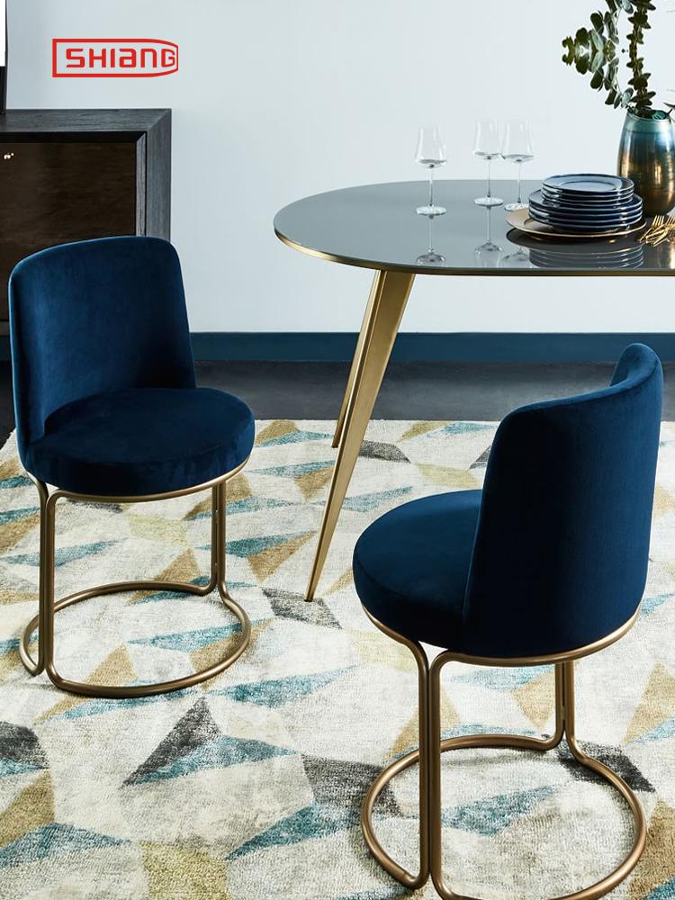北欧现代简约金色不锈钢绒布餐椅沙发椅子休闲椅