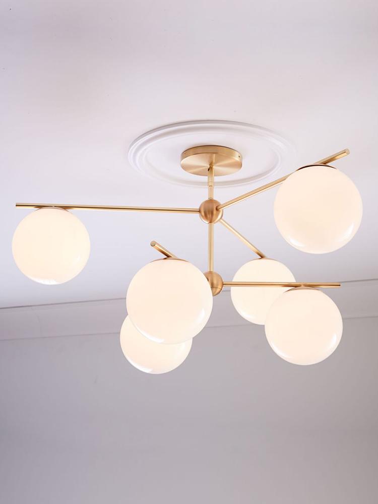 北欧现代简约客厅餐厅卧室书房商业奶白玻璃球金属香槟金枝形吊灯