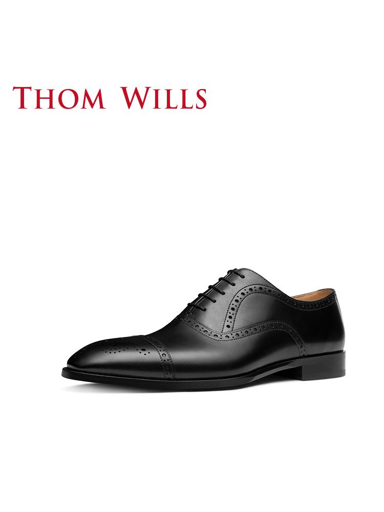 Thomwills牛津鞋男秋季新款真皮反绒英伦布洛克雕花休闲皮鞋男
