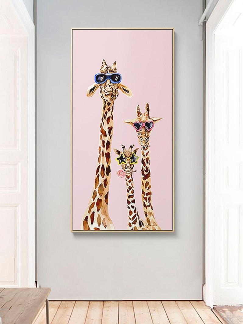 三小姐 竖版玄关装饰画北欧风格卡通动物挂画过道走廊尽头壁画鹿