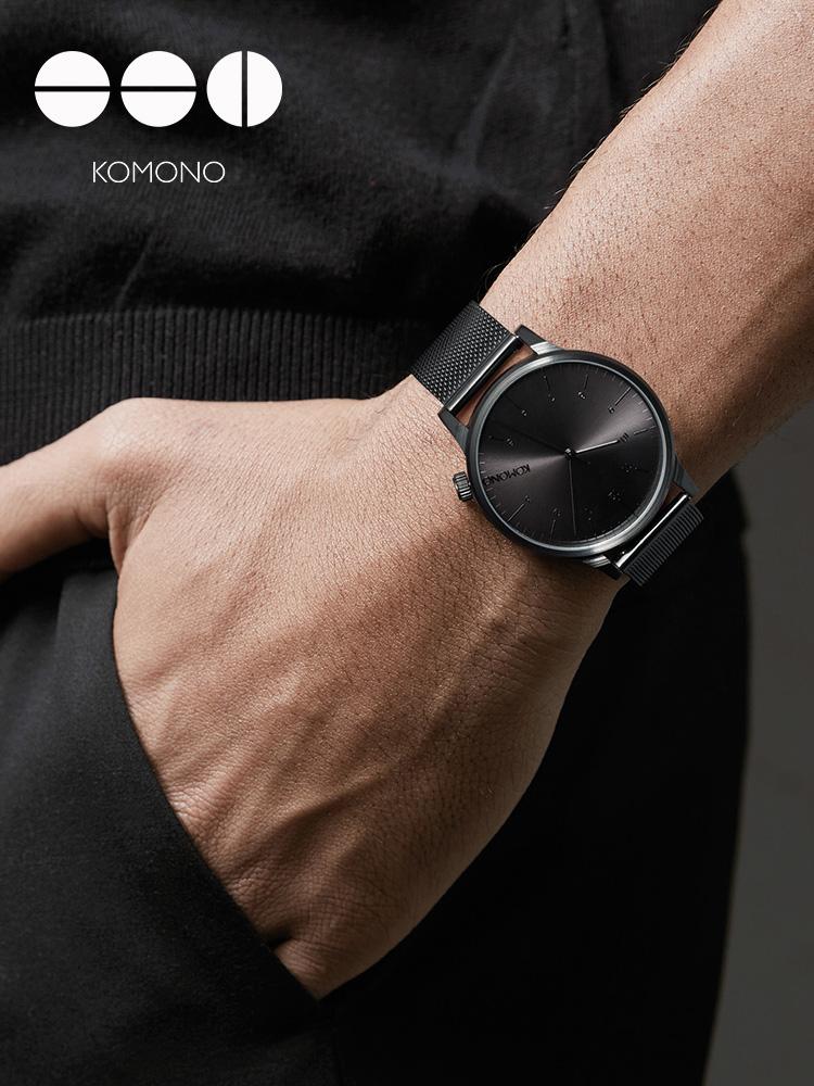 KOMONO男士手表时尚简约学生腕表防水石英表网红小众钢带dw男表