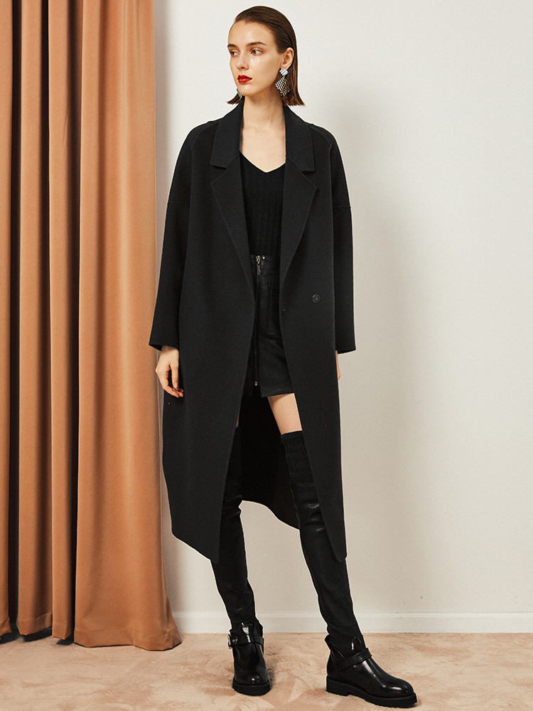 2018新款冬季双面羊绒大衣女中长款茧型大码宽松显瘦黑色毛呢外套