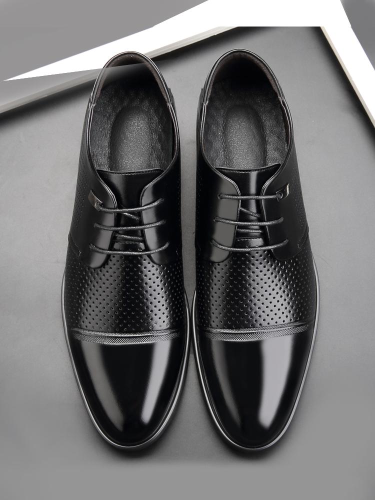 夏季皮鞋男镂空透气男士商务休闲正装真皮凉鞋防臭内增高夏天男鞋