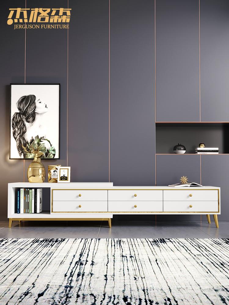 轻奢北欧电视柜茶几组合墙套装现代简约小户型客厅可伸缩电视机柜