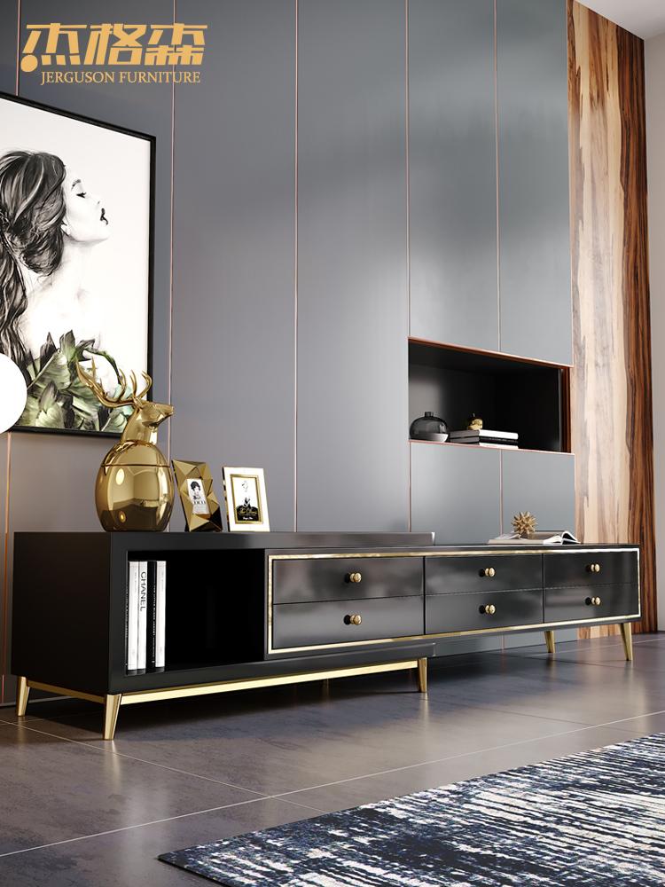 轻奢简约可伸缩电视柜 后现代小户型客厅电视机柜影视柜地柜家具