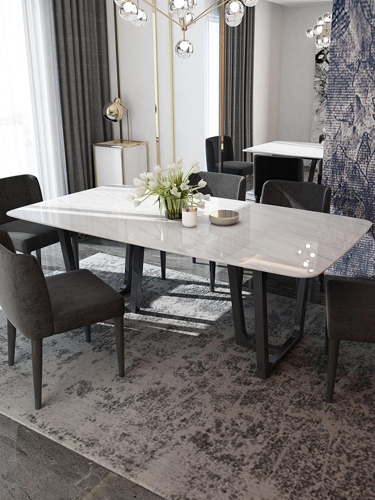 大理石餐桌 现代简约长方形实木饭桌小户型6人创意北欧餐桌椅组合