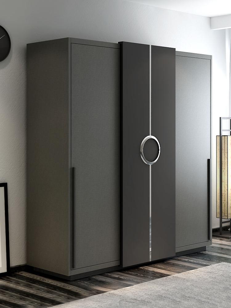 北欧推拉门衣柜简约现代卧室板式移滑门经济型实木组装三门大衣橱