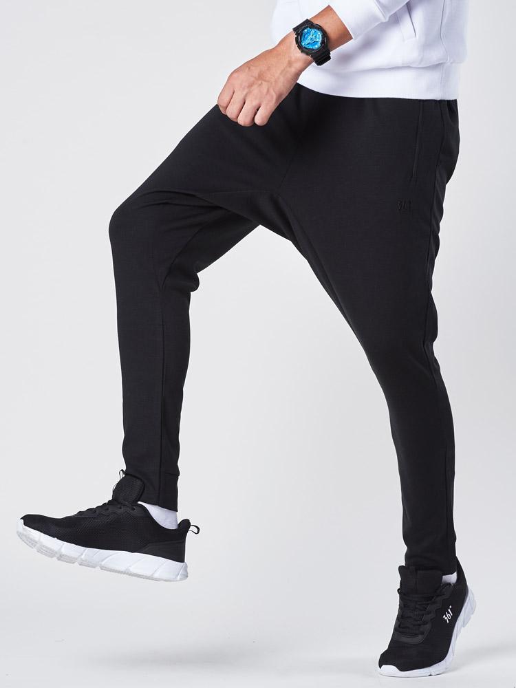 361度运动男裤2018秋季新款黑色训练长裤361男士针织小脚休闲裤