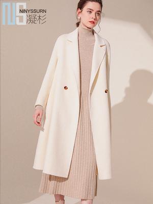 凝杉2018秋新款纯长袖阿尔巴卡双面羊毛绒大衣女中长款毛呢外套
