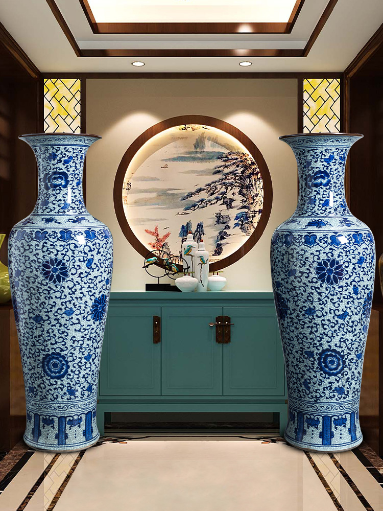 Large antique hand - made of blue and white porcelain vase furnishing articles Chinese jingdezhen ceramics to heavy Large sitting room ground decoration
