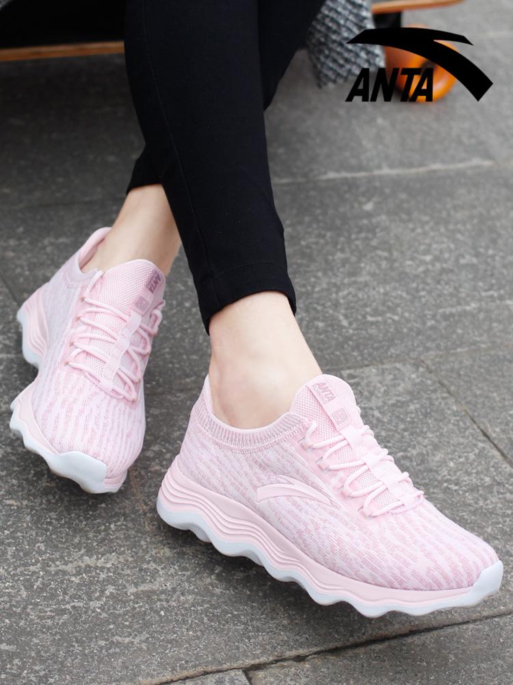 安踏女鞋2018新款秋季透气运动鞋女网面透气百搭休闲鞋粉色跑步鞋