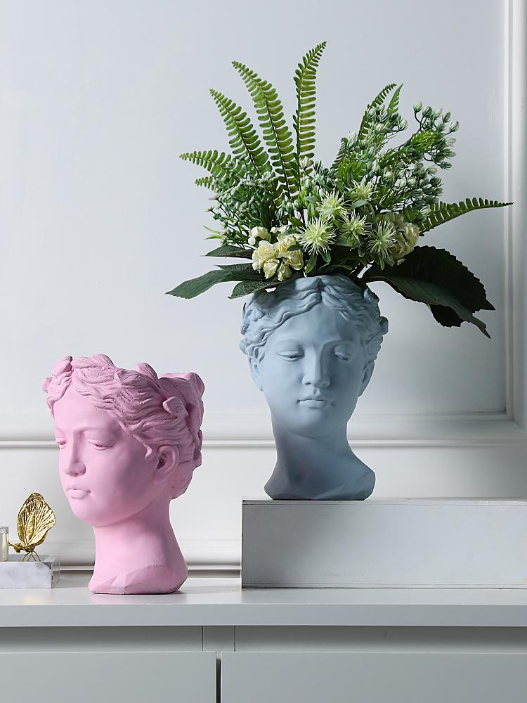 北欧创意人像花器维纳斯女神雕像水泥花盆复古艺术插花装饰摆件