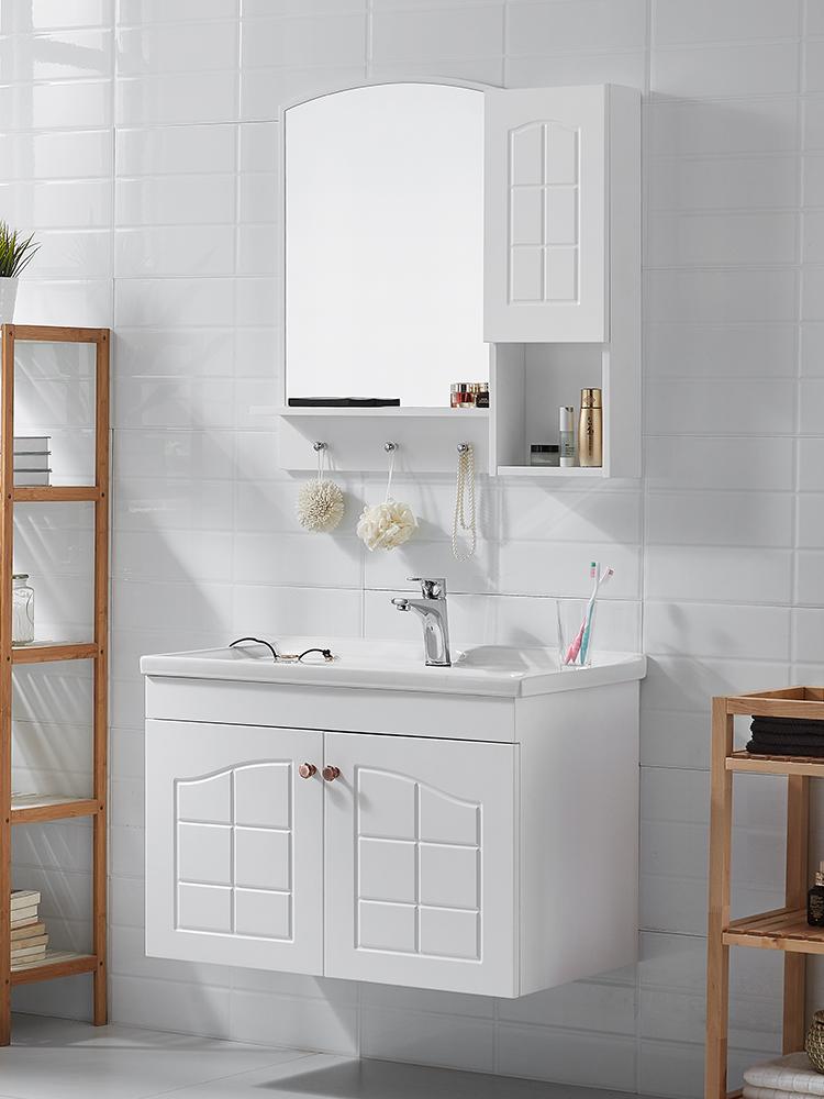 浪鲸实木浴室柜组合简欧田园风 挂墙式卫浴柜洗脸盆洗漱台卫生间
