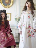 CHESTNUT-栗墨西哥刺绣复古长袖2018秋装新款棉连衣裙古董裙
