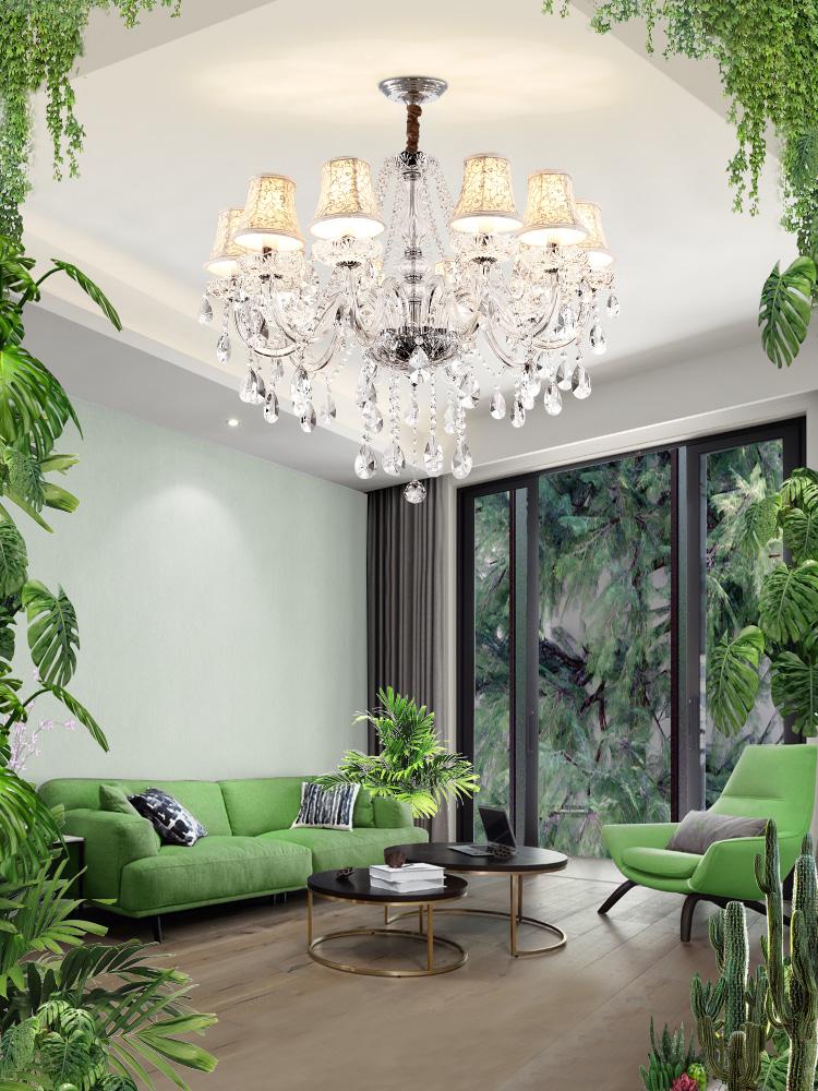 水晶灯客厅灯简约现代大气欧式吊灯餐厅灯简欧灯具卧室灯温馨浪漫