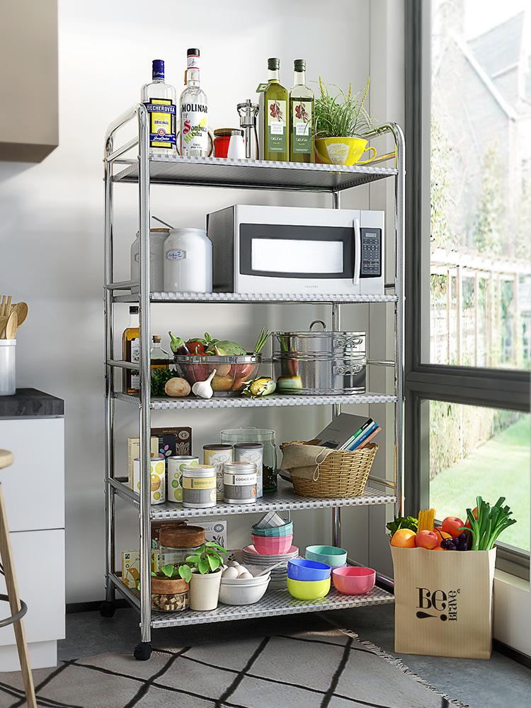 索乐不锈钢厨房置物架落地多层厨具微波炉烤箱收纳储物架子放锅架